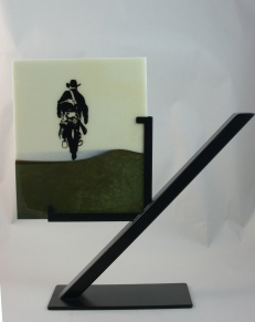 Cowboy screen printed with paint