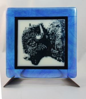 Buffalo screen printed with powdered glass