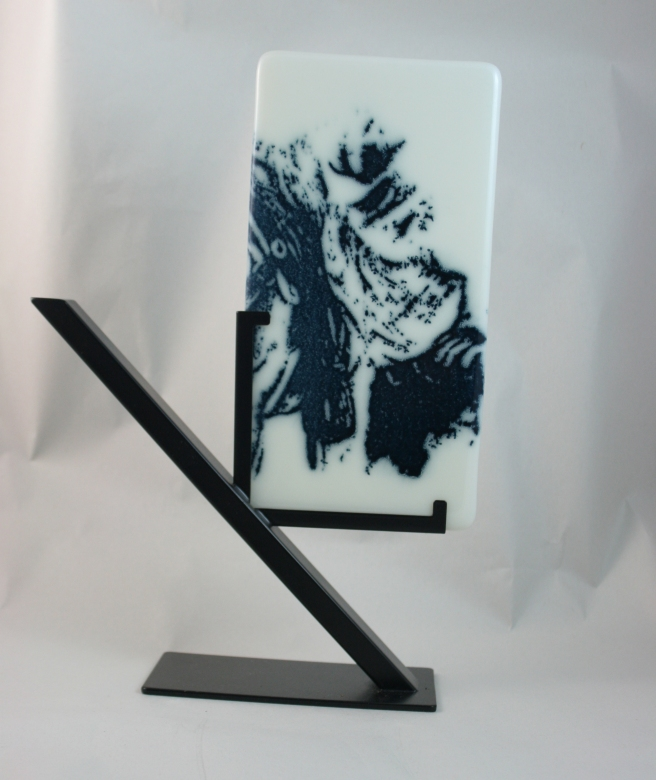 Cowboy screen printed with powdered glass