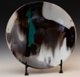 """13"""" bowl with silver highlighted turquoise."""